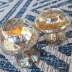 Pair of mushroom tealight candle holders